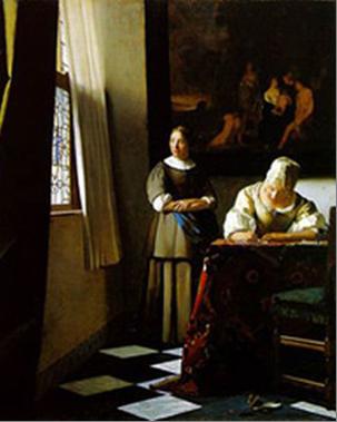 Vermeer. Doamnă scrind o scrisoare cu slujnica ei